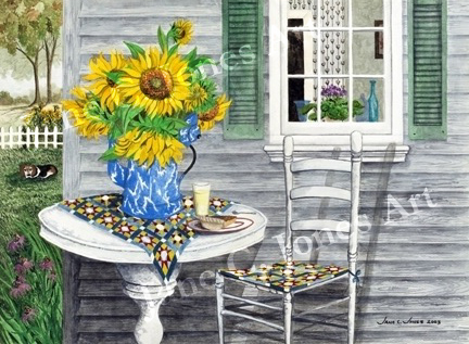 daddy's sunflowers, watercolor, print, farm house, quilt, blue speckled coffee