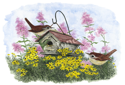 home again, wrens, watercolor, print, bird house, flowers