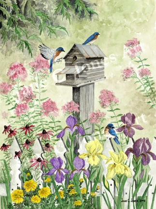 mom's garden, bluebirds, log cabin, watercolor, print, iris, cone flowers