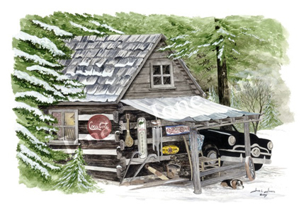 pop's place, watercolor, print, 1950 ford, log cabin, snow, old signs, nature