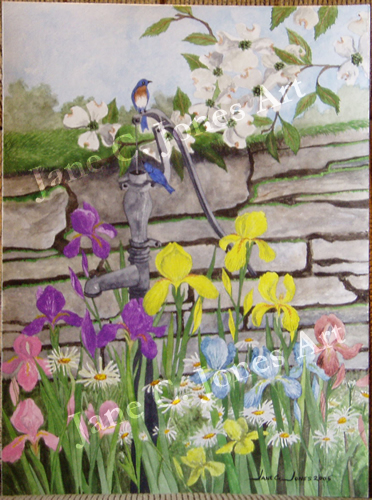 watercolor painting flowers. quot;Water Pump with Flowersquot;
